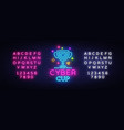cybersport cup emblem cyber cup neon sign vector image vector image