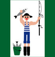 fishermans catch fishing vector image vector image
