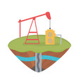 fracking pump tower soil layer water underground vector image