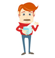 Frustrated hipster character holding a paper vector image