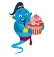 genie with cake on white background vector image vector image