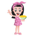 girl holding snacks on white background vector image vector image