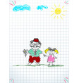 granddad and grandchild together holding hands vector image vector image