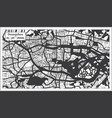 guangzhou china city map in black and white color vector image vector image