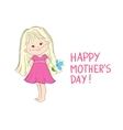 Happy mothers day card with a cute little girl vector image vector image