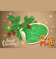 holiday greeting card with xmas gingerbread - man vector image vector image