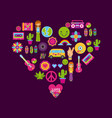 icons set hippie scenery cartoon vector image