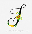 letter t watercolor floral background vector image