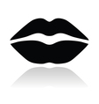 Lips black glossy icon vector image vector image