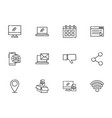 Network social media icons set line style