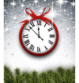 New year clock with starry background vector image vector image