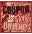 Online Coupon The Benefits text background vector image vector image