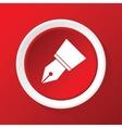 pen nib icon on red vector image vector image
