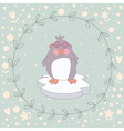 Penguin Christmas wreath vector image