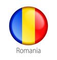 romania round button flag vector image vector image