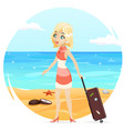 sea beach background cute girl suitcase cartoon vector image vector image