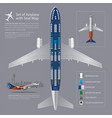 set of airplane with seat map isolated vector image