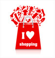 shopping sale bag in red with clothes on white vector image