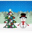 snowman and Christmas tree decorations vector image vector image