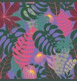 tropical branches and leaves seamless pattern vector image vector image