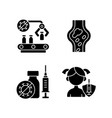 vaccination black glyph icons set on white space vector image vector image