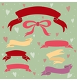 Wedding ribbons set hearts and bow vector image vector image