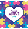 world autism day with heart in puzzle pieces vector image vector image