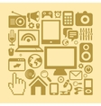 set of technology icons in retro style vector image