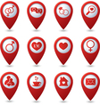 Map pointers with love icons vector image