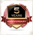 5 years anniversary golden label vector image vector image