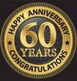 60 years happy anniversary congratulations gold vector image