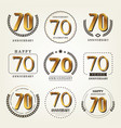 70 years anniversary logo set vector image vector image