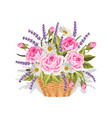 a basket full flowers on vector image vector image