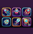 app icons with flying rockets space wars game vector image