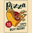 banner with slice of pizza in retro style vector image