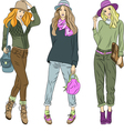 Beautiful fashion girls top models in hats vector image vector image