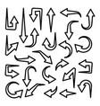 black line arrows set on white background arrow vector image vector image