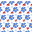 blue and red flowers seamless pattern vector image vector image