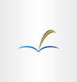 book and feather pen symbol vector image