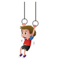 boy hanging on the rings vector image