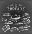 bread items set isolated on dark grey vector image vector image