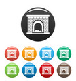 brick fireplace icons set color vector image vector image