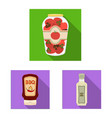 can and food icon set of vector image