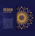 card gold mandala on dark blue background elegant vector image vector image
