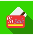 Card sale icon flat style vector image vector image