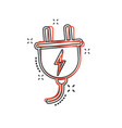 cartoon electric plug icon in comic style power vector image vector image