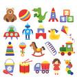 cartoon toys game toy teddy bear dinosaur rocket vector image