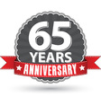 Celebrating 65 years anniversary retro label with vector image vector image