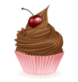 Chocolate Cherry Cupcake vector image vector image