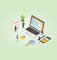 cms content management system concept with laptop vector image vector image